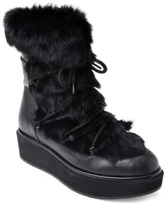 Paloma Barceló Black Real Fur Platform Booties