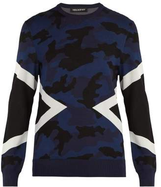 Neil Barrett Modernist Camouflage Intarsia Sweater - Mens - Navy