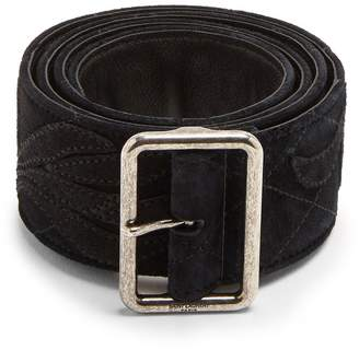 Saint Laurent Floral-appliqué suede belt