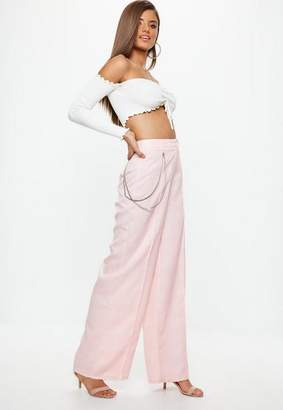 Missguided Petite Pink Check Chain Wide Leg Pants