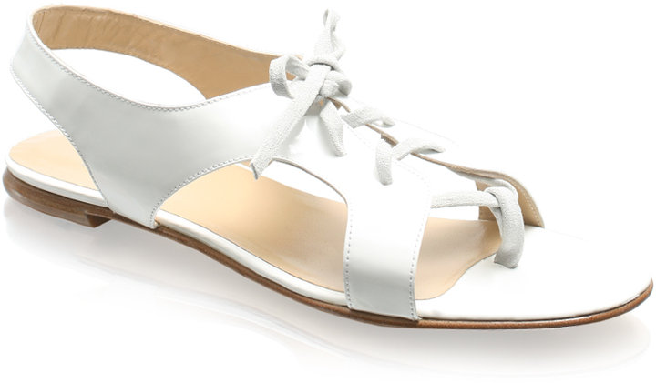 Opening Ceremony Patent Lace-up Flat Sandals
