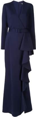 Badgley Mischka ruffled scuba gown