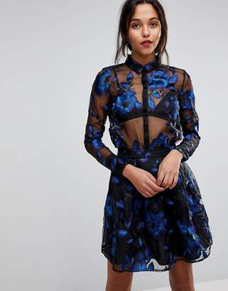Y.A.S Floral Embroidered Sheer Blouse