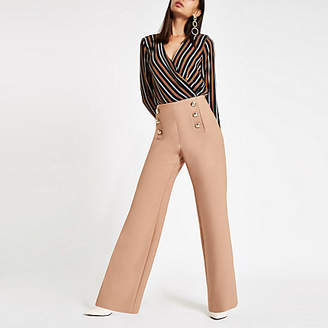 River Island Womens Brown stripe wrap front shoulder pad bodysuit
