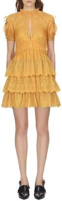 Sea Self Portrait embroidered chiffon tiered mini dress in mustard (6)