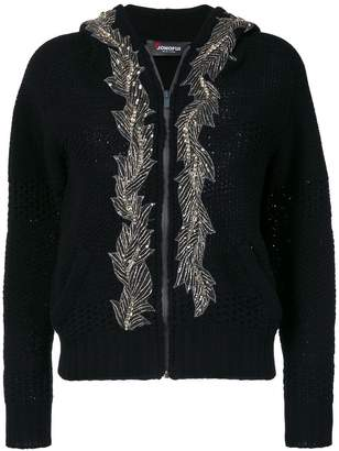 Jo No Fui embellished hooded cardigan