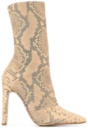 Yeezy python printed chunky heel boots