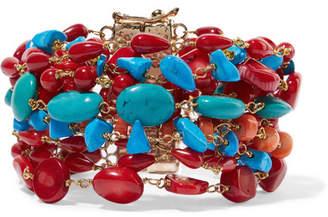 Rosantica Prato Fiorito Gold-tone Beaded Bracelet - Red
