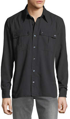 Tom Ford Men's Military Twill Sport Shirt