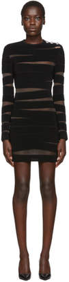 Balmain Black Long Sleeve Open Knit Dress