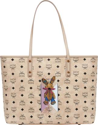 MCM Rabbit Top Zip Shopper In Visetos