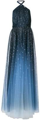 Marchesa Ombré glitter tulle halter gown