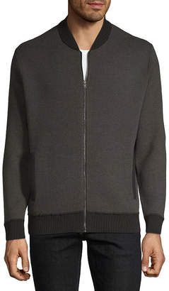 Claiborne Full Zip Mens Mock Neck Long Sleeve Sweater