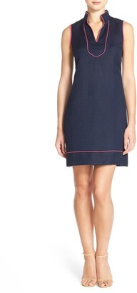 Women's Eliza J Piped Linen Blend A-Line Dress $128 thestylecure.com