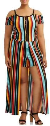 Eye Candy Juniors Plus Size Cold Shoulder Knit Maxi Romper