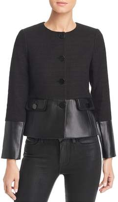 Karl Lagerfeld Paris Tweed & Faux Leather Jacket