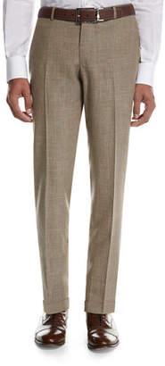 Isaia Sanita Mé;lange Linen-Look Cotton Trousers