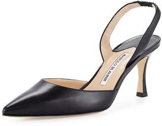 Manolo Blahnik Carolyne Leather Mid-Heel 70mm Halter Pump