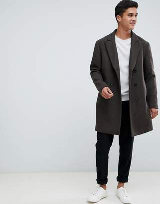 Selected oversized double breasted recycled wool overcoat