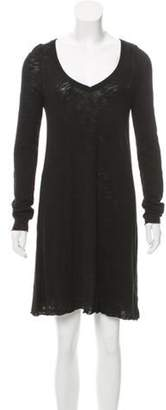 ATM Anthony Thomas Melillo Long Sleeve V-Neck Dress Black Long Sleeve V-Neck Dress