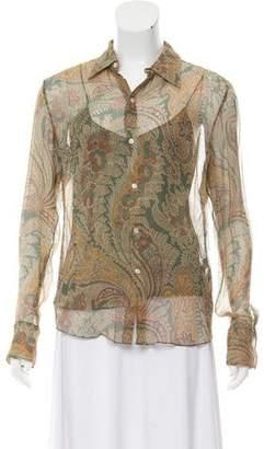 Ralph Lauren Silk Paisley Print Top