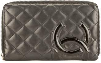 Chanel Black Quilted Lambskin Leather Cambon Ligne Zip Wallet (Pre Owned)