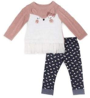 Little Lass Little Girl's Two-Piece Embroidered Sweater & Printed Leggings Set