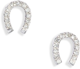 Ef Collection Diamond Mini Horseshoe Stud Earrings