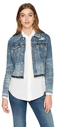 Denim Bloom Women's Color With Frayed Hem Denim Jacket Dark Blue Color