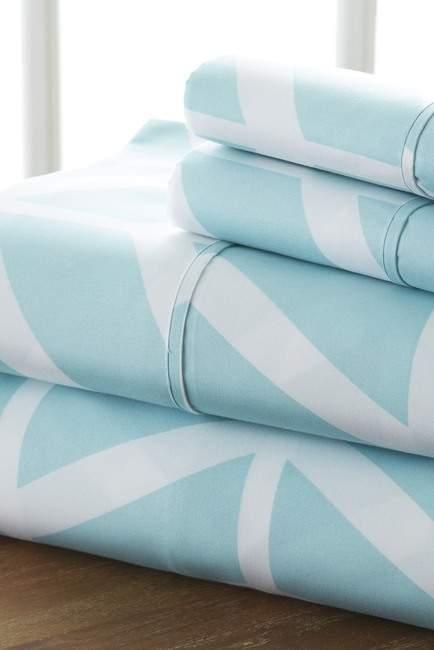 IENJOY HOME The Home Spun Premium Ultra Soft Arrow Pattern 4-Piece King Bed Sheet Set - Turquoise