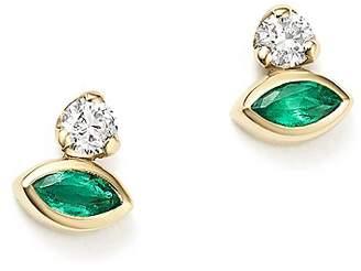 Zoë Chicco 14K Yellow Gold Diamond & Gemfields Emerald Marquise Stud Earrings