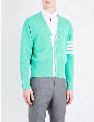 Thom Browne Striped-sleeve cotton-crepe cardigan $790 thestylecure.com