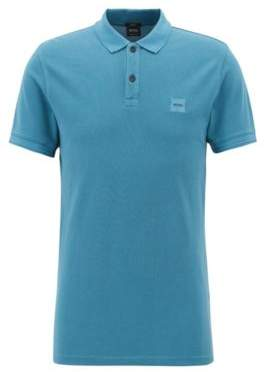 BOSS Hugo Slim-fit polo shirt in washed cotton pique S Open Blue