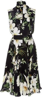 Carolina Herrera Midnight Garden Tie-Neck Floral-Print Silk-Chiffon Dress