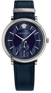 Versace V-Circle Stainless Steel Leather-Strap Watch