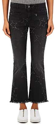 Stella McCartney Women's Frayed-Star Crop Flared Jeans