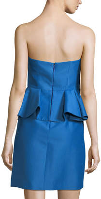 Halston Strapless Straight Cocktail Dress w/ Peplum Waist