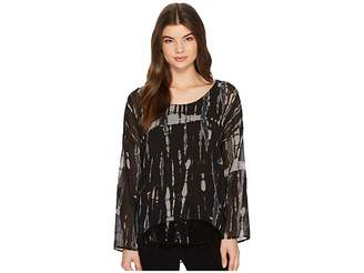 Tribal Printed Woven Top w/ Sequin Detail at Hem Women's Clothing