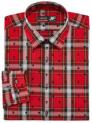 Jf J.Ferrar Easy Care Stretch Big And Tall Long Sleeve Broadcloth Pattern Dress Shirt
