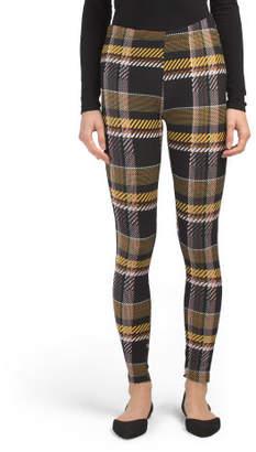 Juniors Plaid Leggings With Side Stripe