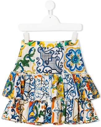 Dolce & Gabbana printed ruffle skirt