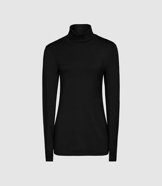 Reiss Charlie - Jersey Rollneck Top in Black