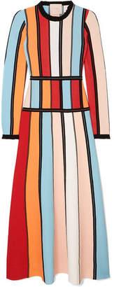 Roksanda Cutout Color-block Stretch-knit Midi Dress - Red