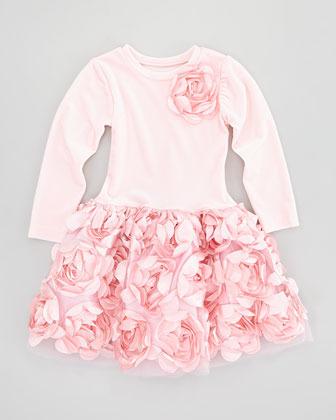 Halabaloo Velvet Drop-Waist Dress, Pink, 4-6X