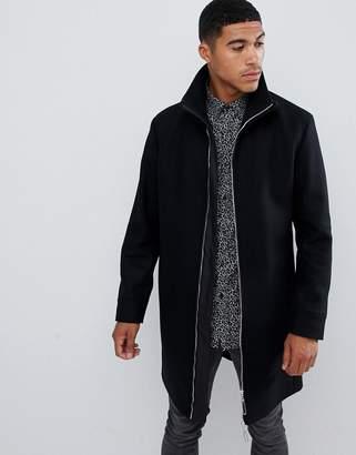 HUGO Meskar slim fit wool overcoat with ribbed collar in black
