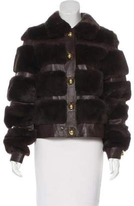 Milly Fur-Trimmed Leather Jacket