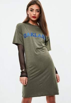 Missguided Tall Khaki Lace Up T-shirt Dress