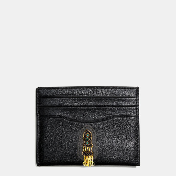 Coach   COACH Coach Flat Card Case In Grain Leather With Souvenir Embroidery