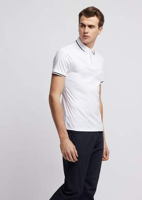 Emporio Armani Cotton Interlock Jersey Polo Shirt With Contrasting Details