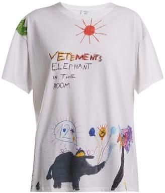 Vetements Crayon Elephant-print cotton T-shirt
